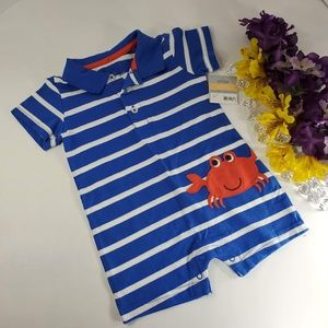4/$25 Carters Blue Stripped Romper, New